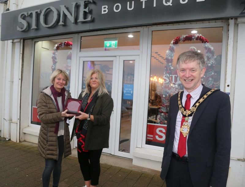 Stone Boutique was the winner of the Best Christmas Window in Portstewart and the Mayor of Causeway Coast and Glens Borough Council Alderman Mark Fielding presented the award to Lynda Hodge and Helen Beattie.