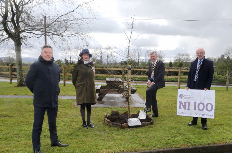 The Mayor of Causeway Coast and Glens Borough Council Alderman Mark Fielding plants a native oak tree at Burnfoot Playing Fields with the Lord-Lieutenant for County Londonderry Mrs Alison Millar, Alderman Alan Robinson and Councillor Edgar Scott.