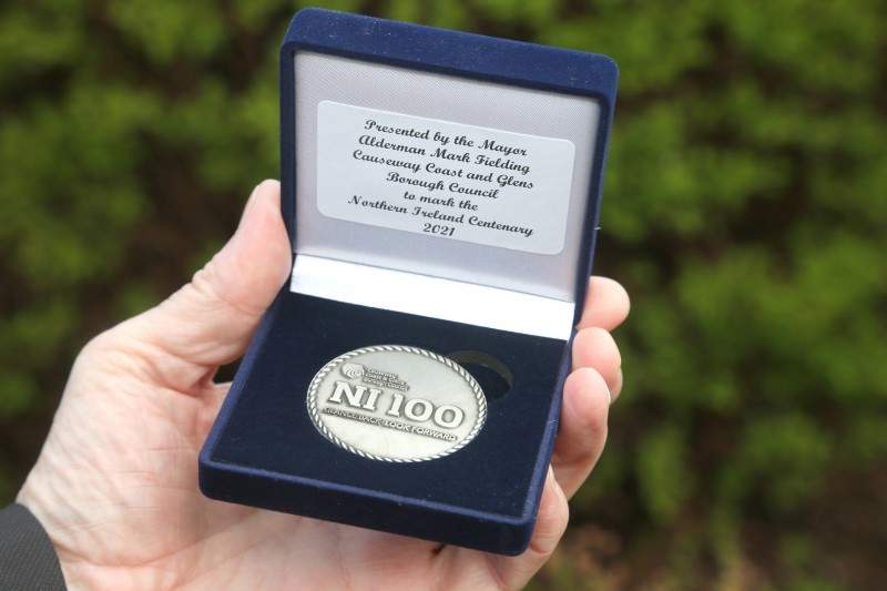 The commemorative centenary coin designed by Causeway Coast and Glens Borough Council as part of its NI 100 programme of events.