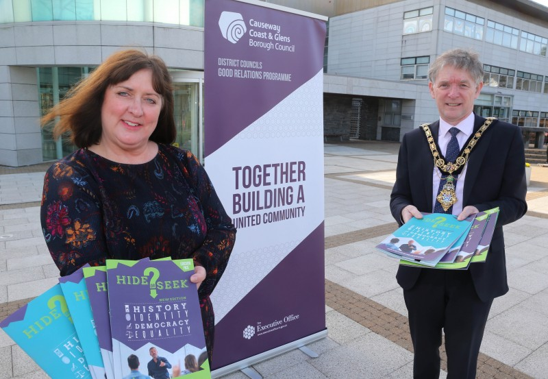 The Mayor of Causeway Coast and Glens Borough Council Alderman Mark Fielding pictured at Cloonavin with Good Relations Officer Joy Wisener to mark the launch of the new 'Hide or Seek?' resource which is now available for post-primary schools.