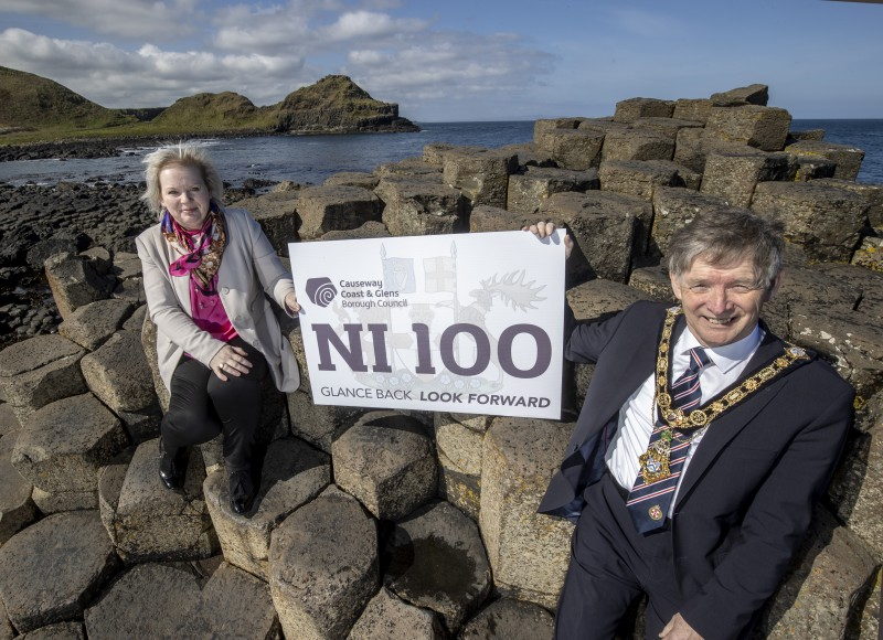 The Mayor of Causeway Coast and Glens Borough Council Alderman Mark Fielding and Councillor Michelle Knight McQuillan, Chair of Council's NI 100 Working Group, pictured at the Giant's Causeway, Northern Ireland's only World Heritage Site, for the official launch of Council's NI 100 programme of events.