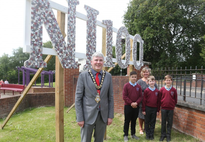 The Mayor of Causeway Coast and Glens Borough Council Councillor Richard Holmes pictured with Archie Boyd, Joanh Simpson and Finlay Browne from Culcrow Primary School