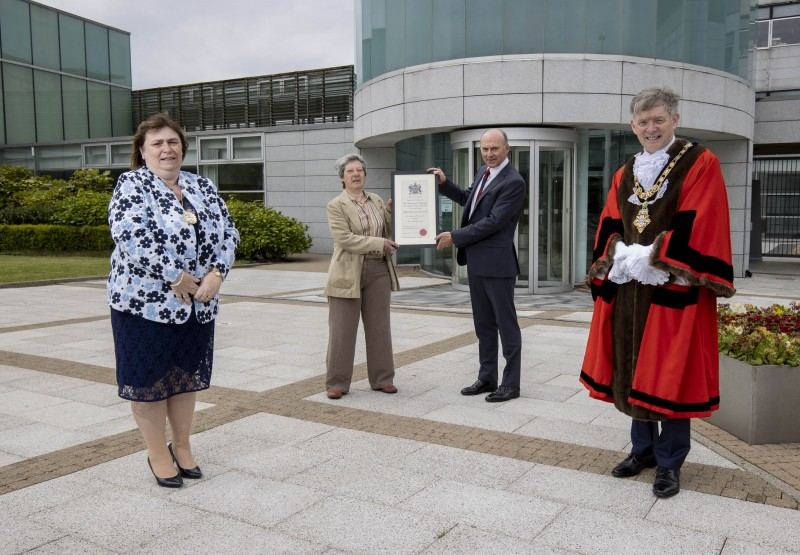 Kath Stewart-Moore, President of the Ladies branch and Dr Ian Kerr, Captain of Royal Portrush Golf Club, pictured with the Mayor of Causeway Coast and Glens Borough Council Alderman Mark Fielding and Mayoress Mrs Phyliss Fielding, following the Freedom of the Borough ceremony held in Cloonavin on Friday 21st May 2021.