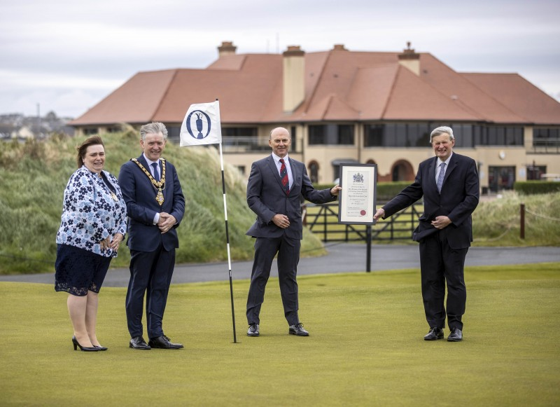 Pictured at Royal Portrush Golf, which received the Freedom of the Borough from Causeway Coast and Glens Borough Council on Friday 21st May 2021 are (left-right), the Mayoress Mrs Phyliss Fielding, Mayor, Alderman Mark Fielding, Captain Dr Ian Kerr and David McCorkell, Lord Lieutenant for County Antrim