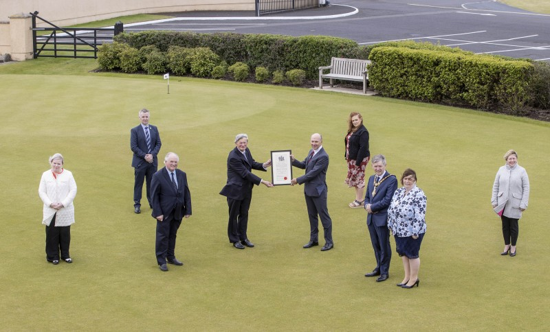 Pictured at Royal Portrush Golf which received the Freedom of the Borough from Causeway Coast and Glens Borough Council on Friday 21st May 2021 are David McCorkell, Lord Lieutenant for County Antrim, Dr Ian Kerr, Captain, the Mayor of Causeway Coast and Glens Borough Council Alderman Mark Fielding, Mayoress Mrs Phyliss Fielding and elected members of Causeway Coast and Glens Borough Council, (Alderman Norman Hillis, Councillor Michelle Knight-McQuillan, Councillor John McAuley, Councillor Ashleen Schenning, and Alderman Sharon McKillop).