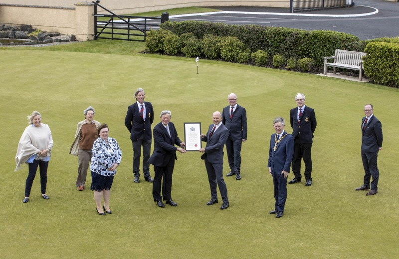 Pictured at Royal Portrush Golf which received the Freedom of the Borough from Causeway Coast and Glens Borough Council on Friday 21st May 2021 are front (left-right), Mayoress Mrs Phyliss Fielding, David McCorkell, Lord Lieutenant for County Antrim, Dr Ian Kerr, Captain and the Mayor of Causeway Coast and Glens Borough Council Alderman Mark Fielding. Back row (left-right), Nicky Smith, Captain of the Ladies branch, Kath Stewart-Moore, President of the Ladies branch, Robert Barry, immediate past Captain, David McMullan, Honorary Secretary, Sir Richard McLaughlin, President and John Lawlor General Manager.