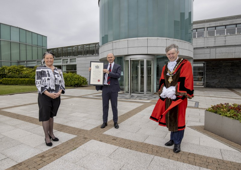 Dr Ian Kerr, Captain of Royal Portrush Golf Club, pictured with the Deputy Lieutenant for County Londonderry, Mrs Lorraine Young, and the Mayor of Causeway Coast and Glens Borough Council Alderman Mark Fielding following the Freedom of the Borough ceremony held in Cloonavin on Friday 21st May 2021.