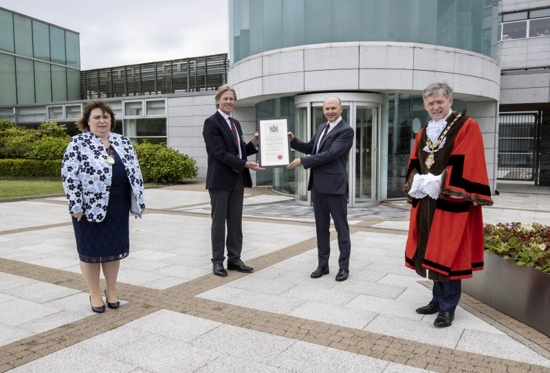 Robert Barry, immediate past Captain and Dr Ian Kerr, Captain of Royal Portrush Golf Club, pictured with the Mayor of Causeway Coast and Glens Borough Council Alderman Mark Fielding and Mayoress Mrs Phyliss Fielding, following the Freedom of the Borough ceremony held in Cloonavin on Friday 21st May 2021.
