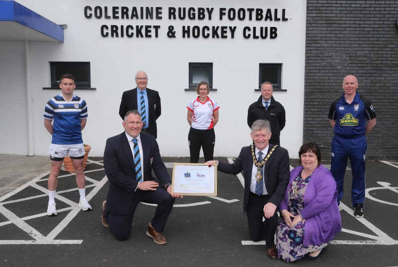The Mayor of Causeway Coast and Glens Borough Council Alderman Mark Fielding and Mayoress Mrs Phyliss Fielding present a framed certificate to Andrew Hutchinson, President of Coleraine Rugby Football, Cricket and Hockey Club, to mark the club's centenary along with Matt Smyth, Brian Reid, Gerry Lafferty, Susan Humphrey and Stephen McCartney.