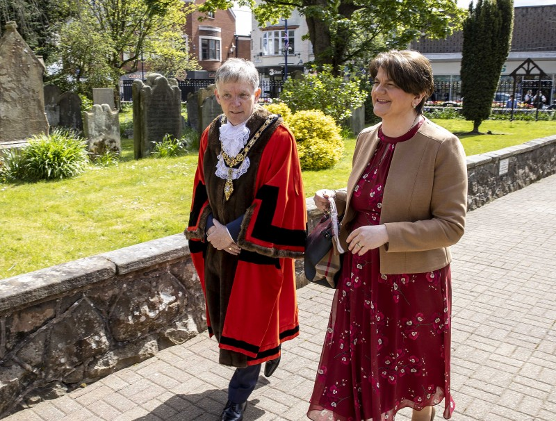 The Mayor of Causeway Coast and Glens Borough Council Alderman Mark Fielding welcomes First Minister Rt Hon Arlene Foster MLA to the Service of Commemoration, Thanksgiving and Reflection to mark the Centenary of Northern Ireland held at St Patrick's Parish Church on Sunday 2nd May 2021.