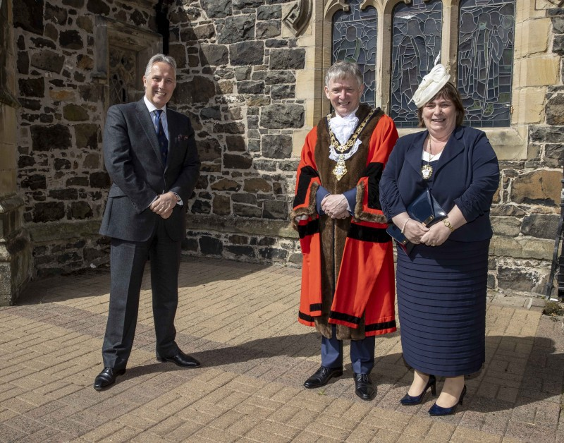 Ian Paisley MP pictured with the Mayor of Causeway Coast and Glens Borough Council Alderman Mark Fielding and Mayoress Mrs Phyllis Fielding at St Patrick's Parish Church in Coleraine for a Service of Commemoration, Thanksgiving and Reflection to mark the Centenary of Northern Ireland.