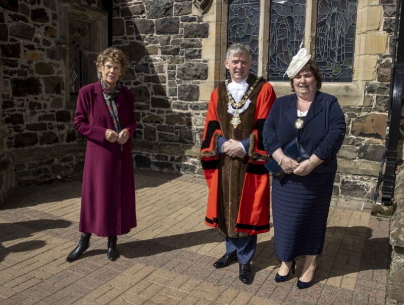 Baroness Kate Hoey pictured with the Mayor of Causeway Coast and Glens Borough Council Alderman Mark Fielding and Mayoress Mrs Phyllis Fielding at St Patrick's Parish Church in Coleraine for a Service of Commemoration, Thanksgiving and Reflection to mark the Centenary of Northern Ireland.