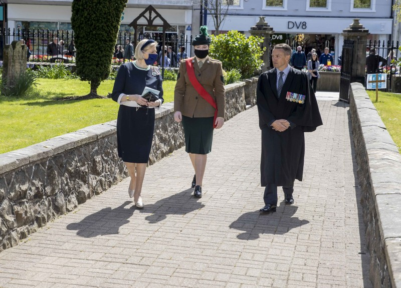 Mrs Alison Millar, Lord-Lieutenant of County Londonderry, arrives at St Patrick's Parish Church in Coleraine for Causeway Coast and Glens Borough Council's Service of Commemoration, Thanksgiving and Reflection to mark the Centenary of Northern Ireland with cadet, Sabrina Pickering, and Council Chief Executive David Jackson.