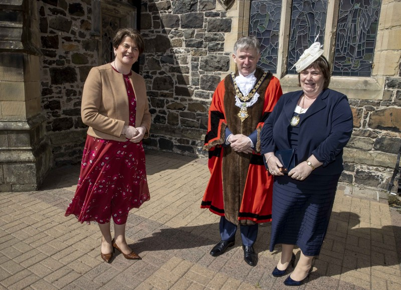 The Mayor of Causeway Coast and Glens Borough Council Alderman Mark Fielding and Mayoress Mrs Phyllis Fielding pictured with First Minister Rt Hon Arlene Foster MLA at the Service of Commemoration, Thanksgiving and Reflection to mark the Centenary of Northern Ireland held at St Patrick's Parish Church on Sunday 2nd May 2021.