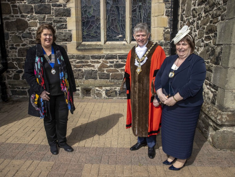 High Sheriff of County Londonderry Paula McIntyre pictured with the Mayor of Causeway Coast and Glens Borough Council Alderman Mark Fielding and Mayoress Mrs Phyllis Fielding at the Service of Commemoration, Thanksgiving and Reflection to mark the Centenary of Northern Ireland held at St Patrick's Parish Church on Sunday 2nd May 2021.