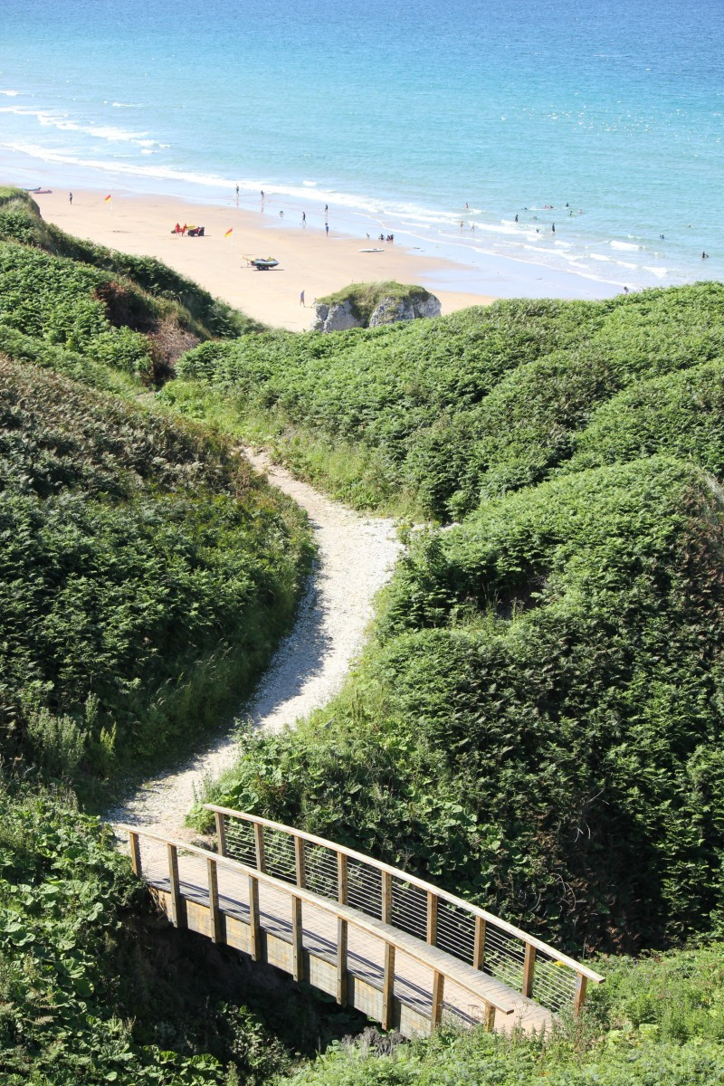 Footbridge on cliff path at Whiterocks