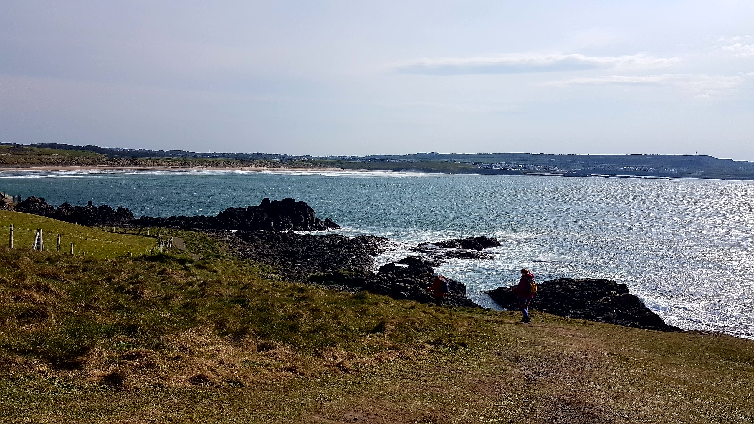 Looking back towards beach and Portballintrae from Runkerry headland
