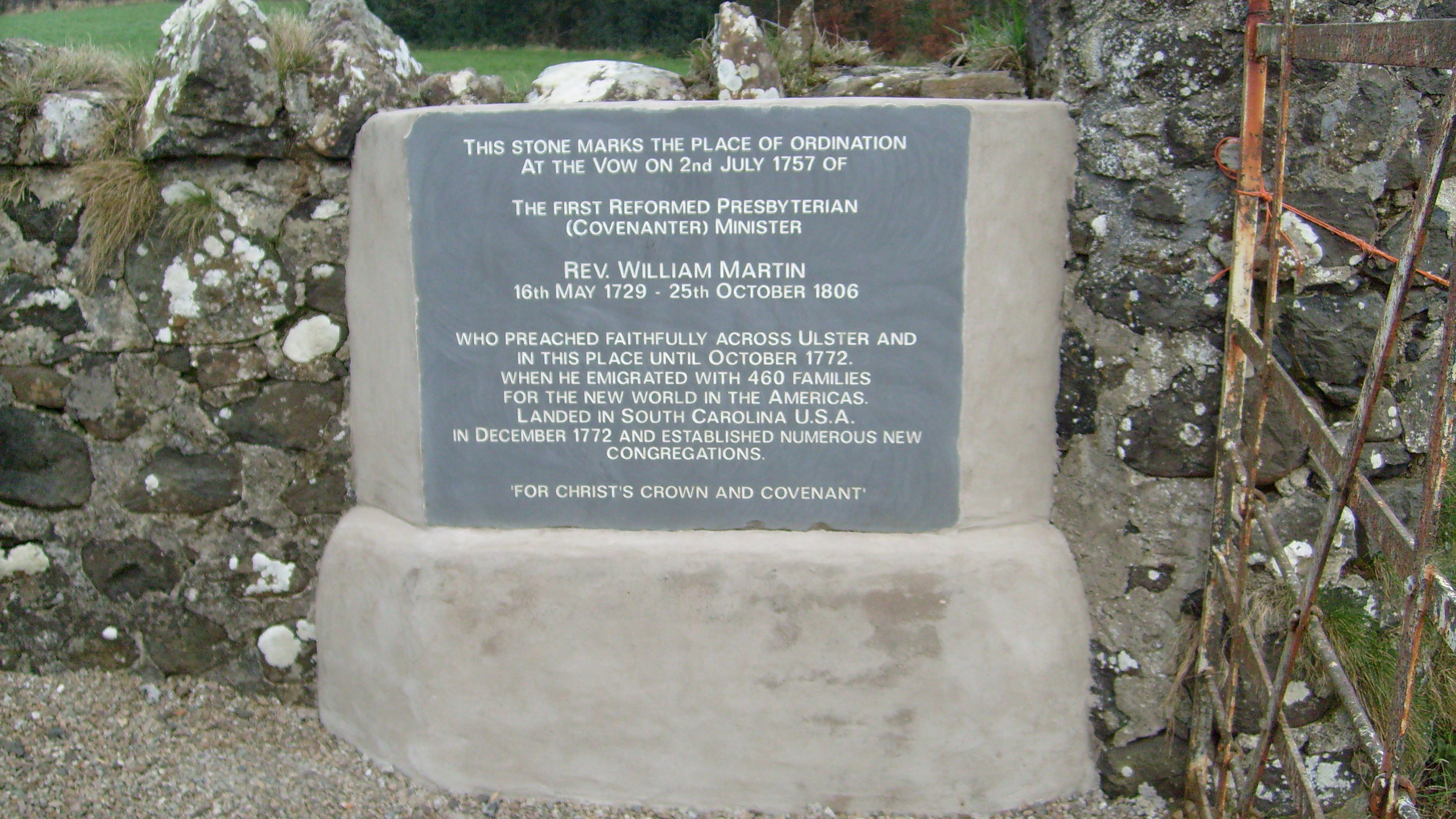 Stone at Vow to commemorate Reverend William Martin