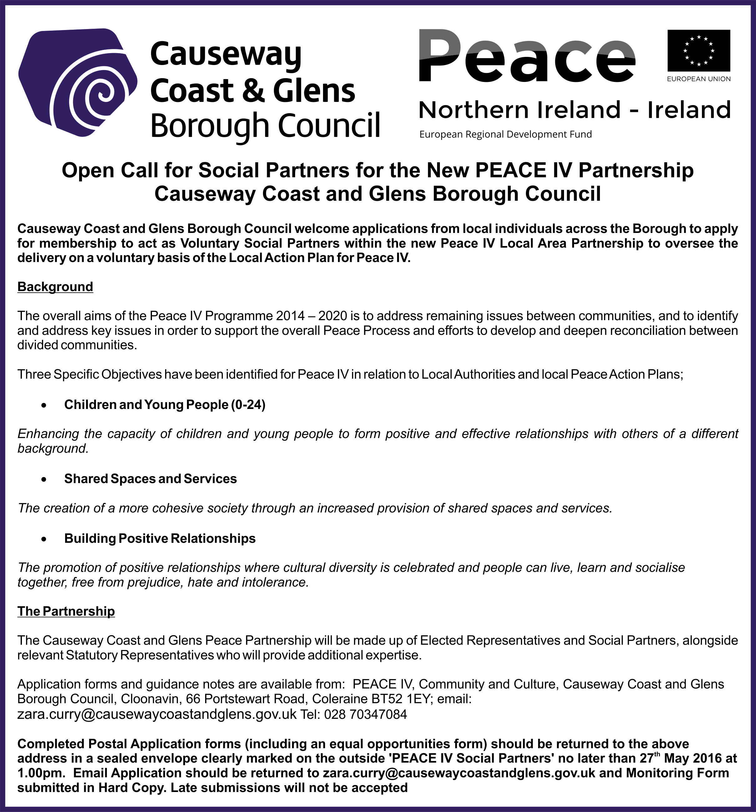 public notice open call for social partners for the new peace iv public notice open call for social partners for the new peace iv partnership causeway coast glens borough council