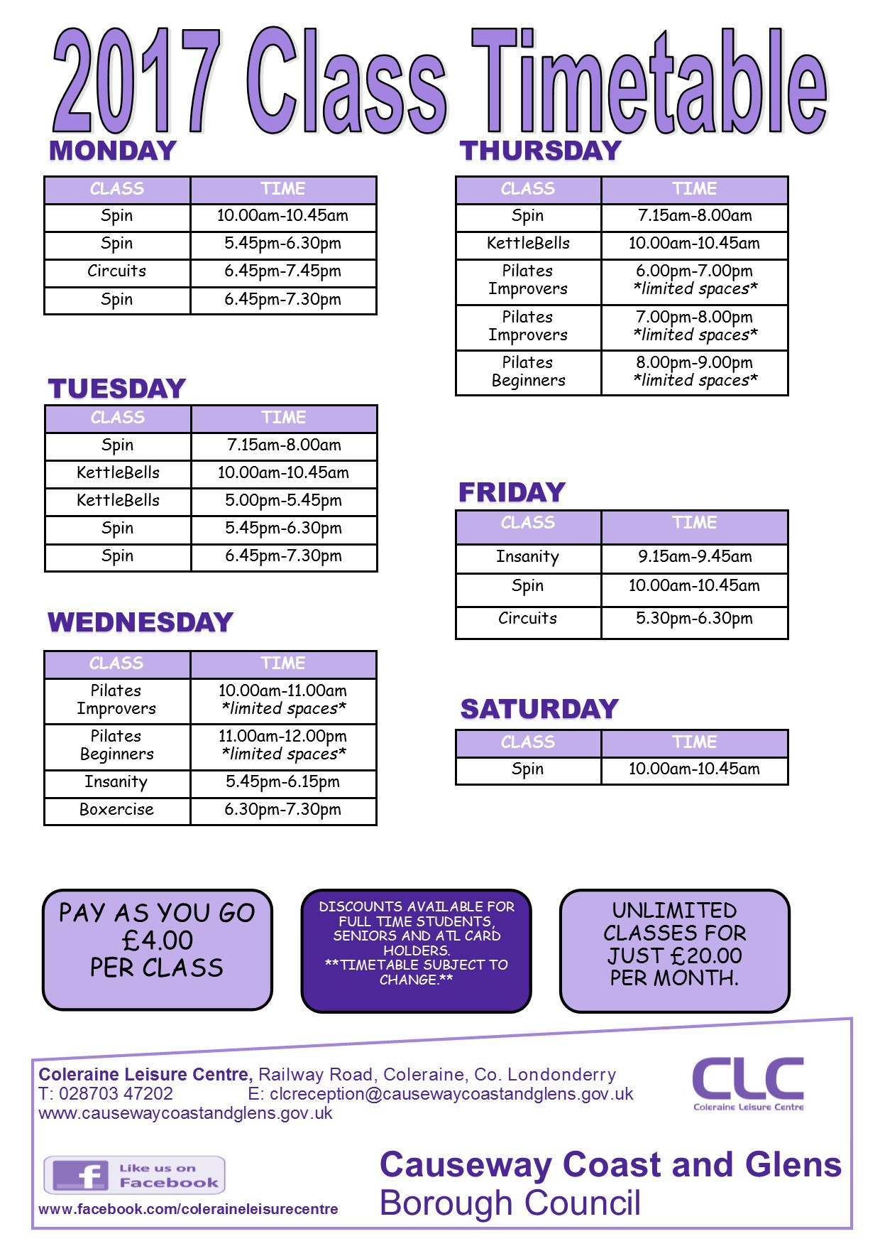 Class Timetable January 2017 Causeway Coast Glens Borough – Class Timetable