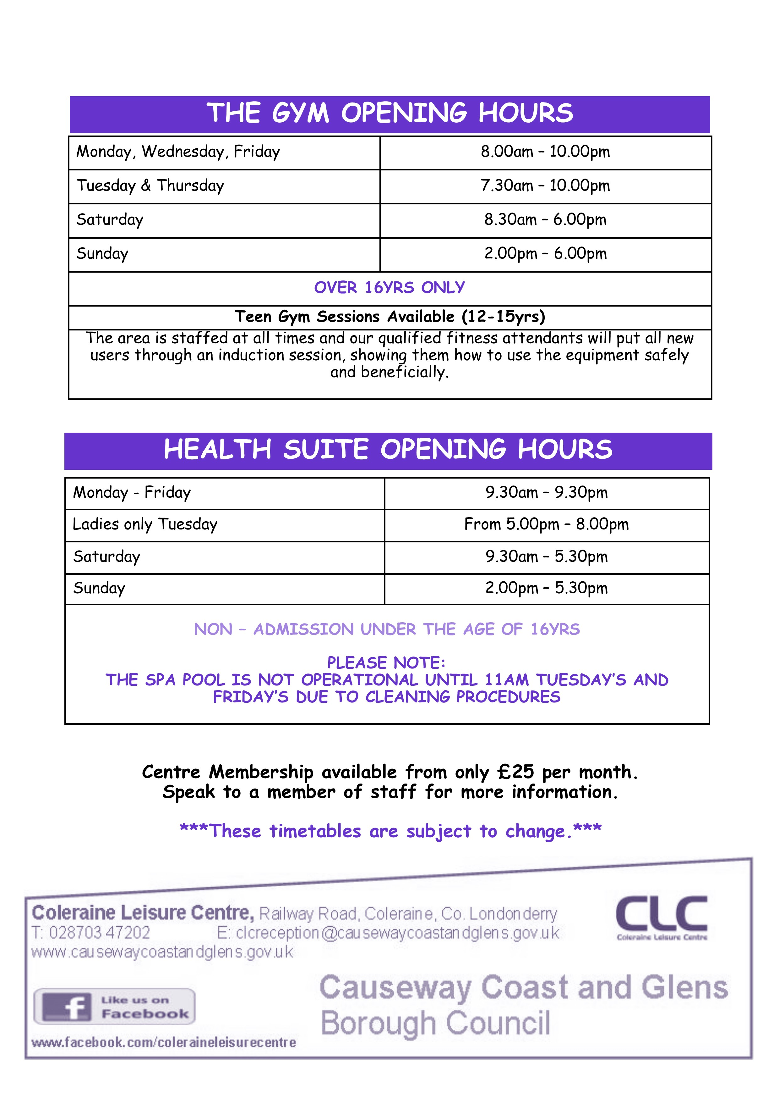 Gym & Health Suite Timetable