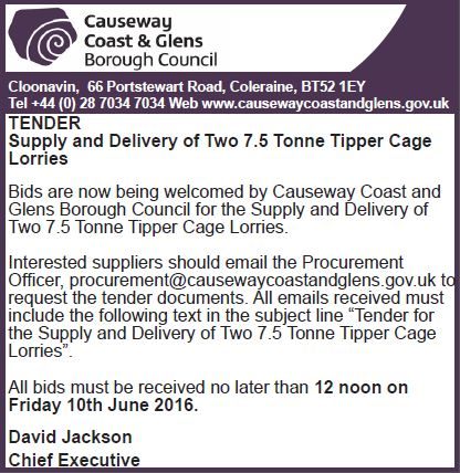 TENDER Supply and Delivery of Two 7 5 Tonne Tipper Cage