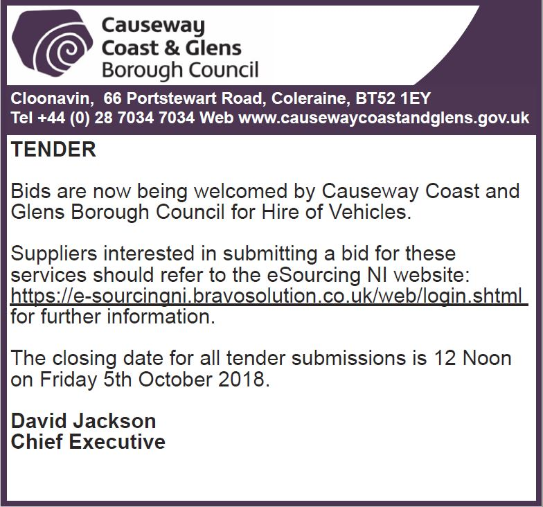 Causeway coast and glens tenders dating