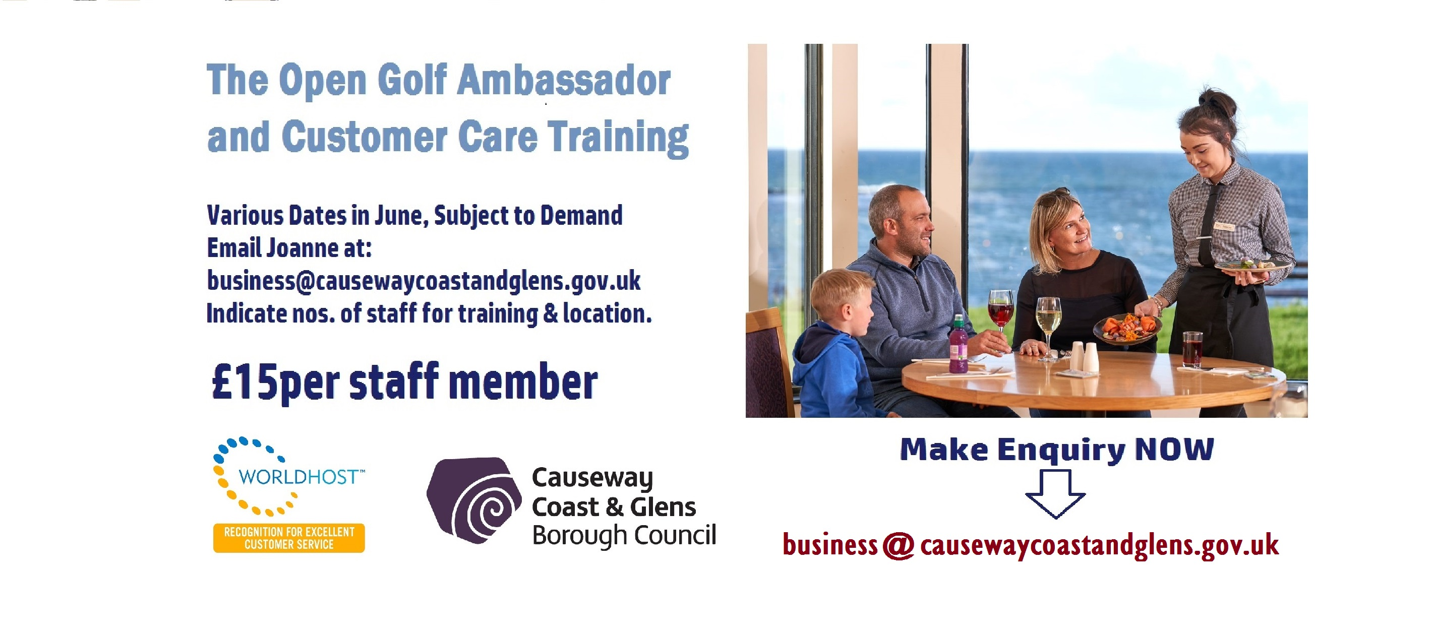 Golf Ambassador and Customer Care Training.  Email business@causewaycoastandglens.gov.uk to express interest