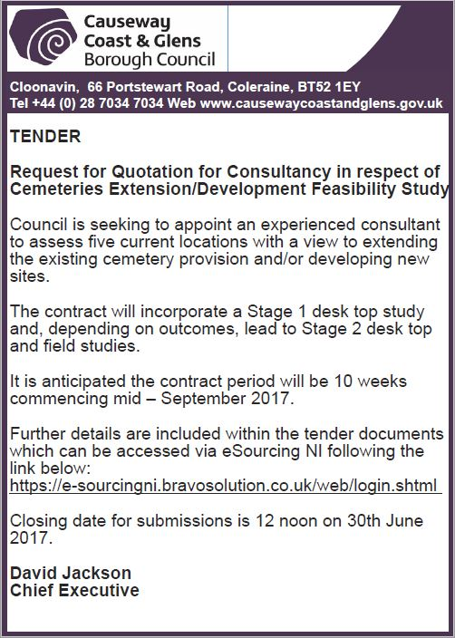 Tender-Request For The Quotation For Consultancy For Cemeteries