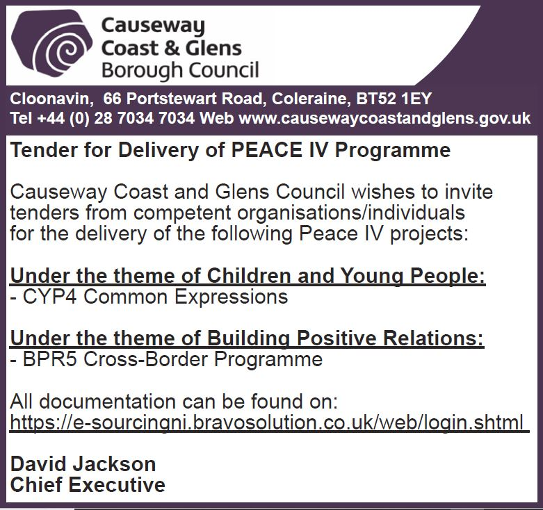 TENDER- DELIVERY OF PEACE IV PROGRAMME - Causeway Coast