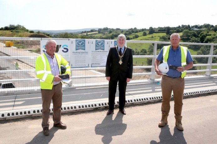 Mayor of Causeway Coast and Glens Borough Council visits major road scheme in Dungiven