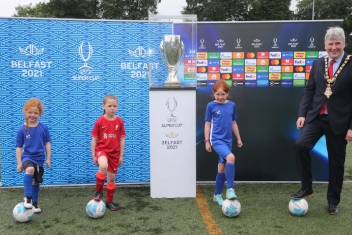 UEFA Super Cup makes a surprise visit to summer football camp in Limavady